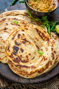 Lachha Paratha Recipe (Step by Step) - WhiskAffair Indian Flat Bread, Paratha Recipes, Recipe Steps, Easy Meals, Rolls, Favorite Recipes, Baking, Ethnic Recipes, Curries