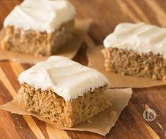 Pumpkin Zucchini Bars Recipe │Fresh zucchini mixed with pumpkin topped with cream cheese frosting for a delicious fall treat.