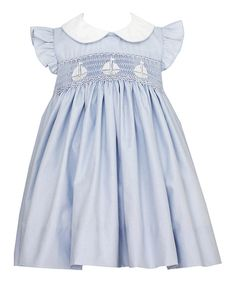 Look at this #zulilyfind! Blue Sailboats Smocked Collar Dress - Infant & Toddler by Petite Palace #zulilyfinds