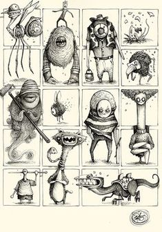 """Series of Sketches made with ballpoint pen on paper.""""Little and quick Concepts for Great Ideas"""""""