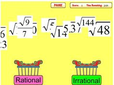 Lots of practicing sorting rational and irrational numbers into the correct bin.