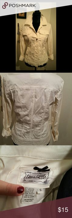 Boutique Style Jean Jacket Cute white cropped jacket.  Like new!  Size S fits like M. Live a Little Jackets & Coats Jean Jackets