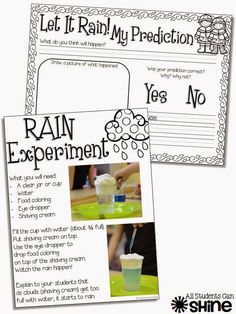 It's Raining, It's Pouring, Science is not boring. Weather Kindergarten, Teaching Weather, Preschool Weather, Weather Science, Weather Activities, Kindergarten Science, Elementary Science, Science Classroom, Teaching Science