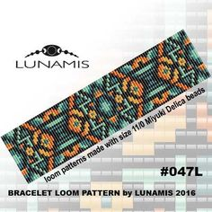 Loom bracelet pattern, loom pattern, square stitch pattern, pdf file, pdf pattern, cuff, #047L by LunamisBeadsPatterns on Etsy