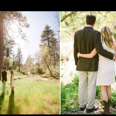 Simple forest wedding...lace dress and cowgirl boots!