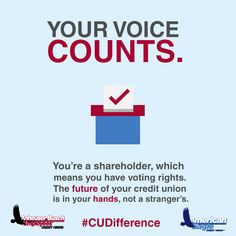 Did you know that when you join a credit union, you're getting so much more than the average banking experience? Another way that a credit union is different from a bank is in our treatment of shareholders. We're all shareholders, so we all get a vote. The future of the credit union is in your hands, not in a stranger's.