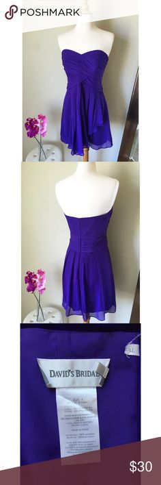 David's Bridal Mini Purple Dress David's Bridal Mini Purple Dress Size 4, in great condition, zips from the back and strapless. Dress was worn once to a friends wedding. Pair this cute dress with your fav heels for any occasion.Comes from a smoke free home ☺️ David's Bridal Dresses Mini
