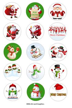 Christmas Bottle Cap Images   Santa Claus  by MNaArtAndGraphics
