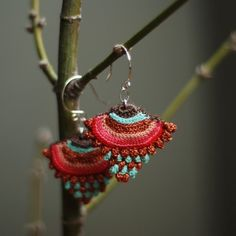 RESERVEDsterling silver and crochet earrings por kjoo en Etsy Love Crochet, Bead Crochet, Beautiful Crochet, Textile Jewelry, Fabric Jewelry, Diy Earrings, Crochet Earrings, Crochet Jewellery, Silver Earrings