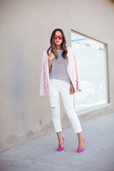 aimee_song_pink_blazer_striped_shirt