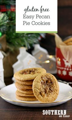 Easy Gluten Free Pecan Pie Cookies Recipe. Made like a thumbprint cookie to hold the gooey caramel pecan pie filling inside, this easy cookie recipe is perfect for Christmas Cookie Swaps or a quick Thanksgiving Dessert and are sure to impress! Forget messing around with pie crusts and pastry, these cookies are so much simpler and so quick to make!