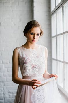 Victoria / Pale rose wedding dress with fashionable handmade