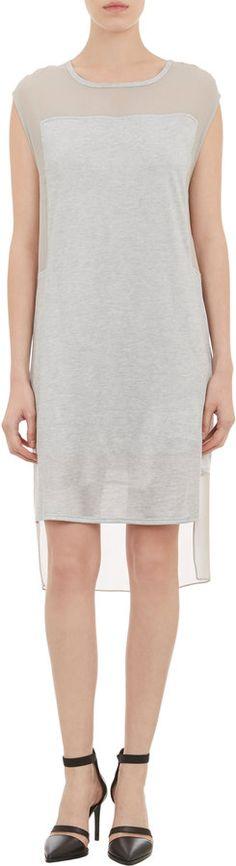 Helmut Lang Chiffon & Jersey Combo Sleeveless T-shirt Dress on shopstyle.com