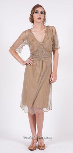 168 Nataya Silver/Bronze Art Deco Tulle Dress