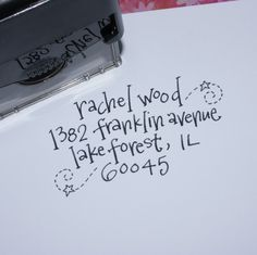 How cute is this? Hand-lettered return address stamp... several different styles available!