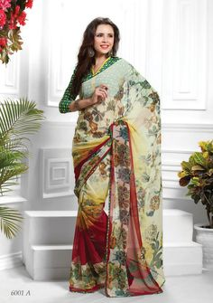 Designer #Yellow & Green Colour Printed #Saree  Yellow & Green ,printed fashion saree, has contrast print detail along the borders Comes with a blouse piece.Length: 5.5 metres plus 0.80 metre blouse piece Available in 35% Discount @aimdeals