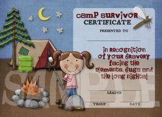 Girl Scouts Camp Survivor Certificate (this etsy shop has the cutest GS certificates)