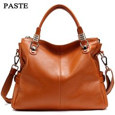 PASTE Genuine Leather Handbags Women Bag Fashion Shoulder Bag 2017 New Women's Large Tote Bags Ladies Casual Design Handbags