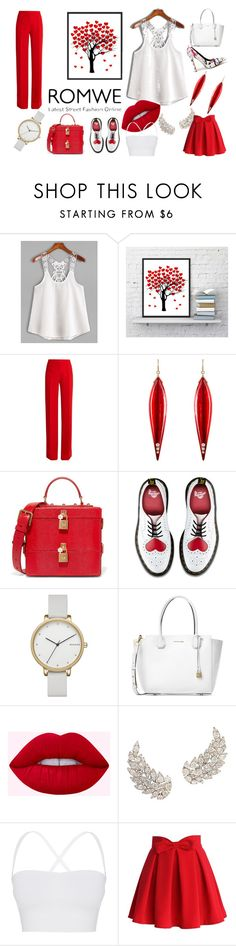 """""""Red & White loves"""" by oldcastlechrista on Polyvore featuring Marco de Vincenzo, Mark Davis, Dolce&Gabbana, Dr. Martens, Skagen, Michael Kors, Theory and Chicwish"""