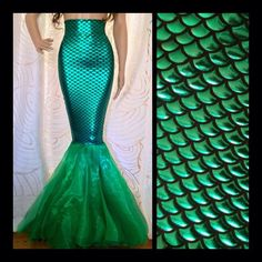High Waisted Fish Scale Green Sexy Mermaid Skirt Tail by SPARKLEmeGORGEOUS on Etsy https://www.etsy.com/listing/290100479/high-waisted-fish-scale-green-sexy