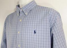 Polo Ralph Lauren Plaid Shirt Custom Fit Button Down Collar Blue Pony sz XL