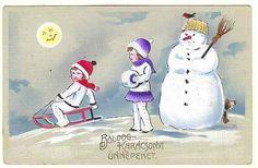 Merry Xmas: Vintage Postcard Kids and Snowman