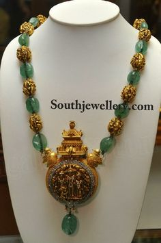 Emeralds and Antique Gold Beads Mala with Antique Pendant