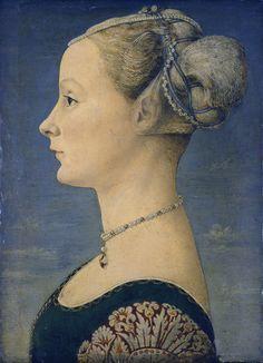 ANTONIO di Jacopo Benci 'POLLAIUOLO' (1432–1498), Portrait of a Lady. Pintor, escultor, grabador y orfebre que perfeccionó el arte del esmaltado. Su obra refleja influencia clásica e interés por la anatomía humana. Muchas de sus pinturas se perdieron.