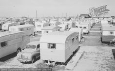 Pemberton Sunstar prominent in this view of a rather cramped Winkups Holiday Camp Towyn from Francis Frith Vintage Campers Trailers, Vintage Caravans, Camper Trailers, Caravan Pictures, British Holidays, Vintage Rv, Seaside Resort, Flirt, Camper Life