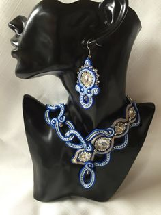 Soutache jewelry ,,BLUE CORNFLOWER´´