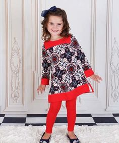 Another great find on #zulily! Navy & Red Geo Veronica Tunic & Leggings - Toddler & Girls #zulilyfinds