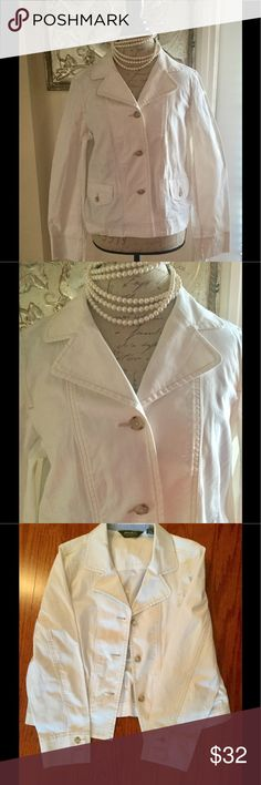 Eddie Bauer White Jacket Beautiful white jacket with beige stitching is fantastically designed! Know you are getting a quality piece from Eddie Bauer! Eddie Bauer Jackets & Coats Blazers