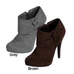 @Overstock.com - Glaze by Adi Women's High Heel Faux Suede Booties - Look great and feel good in these faux suede boots by Adi! These gorgeous high heel booties are available in black, brown and gray so you can match a variety of outfits. These boots feature a 3.25-inch heel, creating a cute and stylish look.  http://www.overstock.com/Clothing-Shoes/Glaze-by-Adi-Womens-High-Heel-Faux-Suede-Booties/5162865/product.html?CID=214117 $33.49