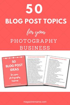 Photographers: Need help deciding what to write for your blog for your photography business? Enter your e-mail to receive these 50 blog post topics and ideas. #photographybusiness #photographytips