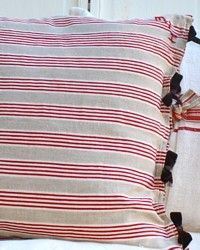 Antique French red ticking pillow