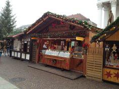 Food vendor booth in Karlsruhe Christmas festival — in Karlsruhe, Germany.