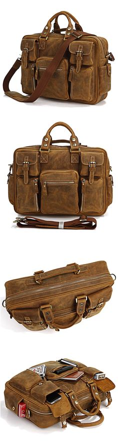 b1998401e018 Rare Crazy Horse Leather Men s Briefcase Laptop Bag Dispatch Shoulder Bag--FREE  SHIPPING