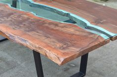 """stunning claro walnut tophand-cut blue glassblack steel legs96"""" x 44"""" - made to order*one-of-a-kind*"""