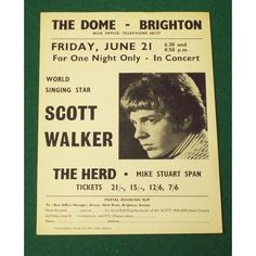 Scott Walker Brighton, The Dome '68 Poster