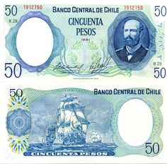 1975 series Chilean 50-peso banknote, featuring captain Arturo Prat on the obverse side, and the Expedición Libertadora del Perú on the reverse side.