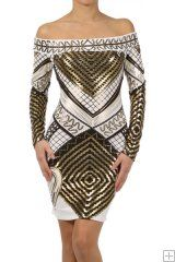 # 3558    92% Polyester 8% Spandex  S/M/L  White   This HIGH QUALITY dress is GORGEOUS! Beautifully designed, this metallic print off shoulder thigh length dress with long sleeves is made from a soft and stretchy fabric that is hand washable, and fits true to size. 65