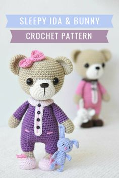 Teddy Bear Crochet Pattern - Aww this little bear is all ready for bed in her Pjs with her little bunny for company! #ad #crochetpattern #amigurumi