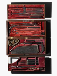cased surgical instrument kit, manufactured by George Tiemann of Philadelphia who was a major supplier of surgical instruments to Union forces during the civil war.