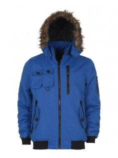 Men's blue short parka with zip-up fastening, multiple pockets on the front, ribbed hem and cuffs and a hood with faux fur trim. Blue Shorts, Fur Trim, Parka, Hoods, Zip Ups, Rain Jacket, Windbreaker, Brand New, Coat