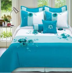 Phoenix Home Fashion Gladis 8 Piece Bedding Set Bed Cover Design, Bed Design, Draps Design, Bedroom Comforter Sets, Floral Comforter, Designer Bed Sheets, Turquoise Room, Embroidered Bedding, Home Room Design