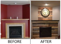 Image result for fireplace with wood surround Pallet Fireplace, Wood Fireplace Surrounds, Fireplace Mantels, Fireplace Ideas, Wood Pallets, Pallet Wood, Reclaimed Barn Wood, Home Projects, Sweet Home