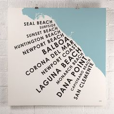 I think it's only appropraite I have a cool piece of CA art. I know the PERFECT spot for this! ORANGE & PARK - Orange County Beach Towns print