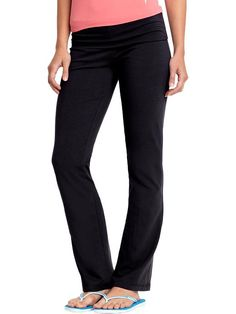 Womens Fold-Over Yoga Pants - Soft cotton-spandex blend stretches and twists with you into your deepest pose. Featuring a fold-over waistband, these pants are fitted through the hips and thigh but loose beyond the knee.