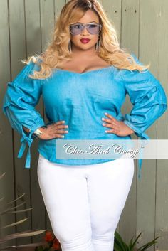 31685062599b6 50% Off Sale - Final Sale Plus Size Off the Shoulder Peasant Top in Light  Wash Color. Plus Size Long Sleeve TopsChic And CurvyPlus ...