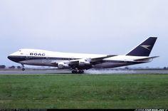 British Overseas Airways Corporation - BOAC Boeing 747-136 G-AWNE landing at London-Heathrow, September 1972. (Photo: Richard Vandervord)